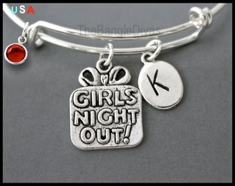 GIRLS Night Out  / Initial / Swarovski BANGLE - Personalized and Expandable Wire Bangle Bracelet - Party Charm - By Renee & Alex USA - # 902