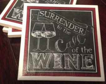 Surrender to the Call of the Wine Ceramic Coasters (Set of 4)