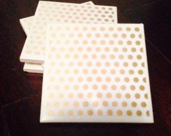 Trendy Gold Dots Customizable Ceramic Coasters (Set of 4)