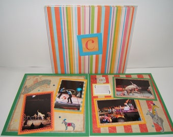 Circus Premade Scrapbook Album 12 by 12 Ready for 4 by 6 photos 20 premade pages circus birthday party