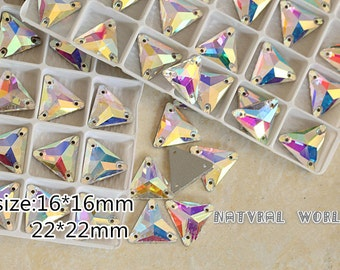 All size Triangle Sew On Rhinestones Crystal AB Flatback 2 Holes Sew-on Stone Glass Crystal  Sewing Supplies Stones For Wedding Dress