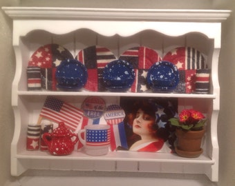 Dollhouse Miniature Wall Shelf Decorated for 4th of July