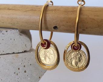 Coin Earrings, Red Gold Hoop Earrings, Large Hoop Earrings, Coin Hoop Earrings, Gift for Her, Under 30