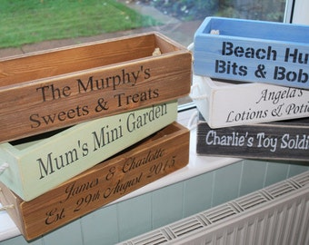 Personalised crate - medium windowsill sized for storage, planter, table centrepiece