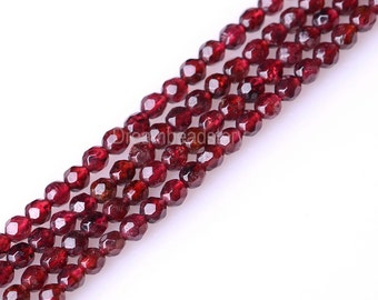 Faceted Garnet Beads, Natural Garnet Gemstone Beads, Full Strand, 3mm 4mm Genuine Red Stone Loose Beads to Make Jewelry