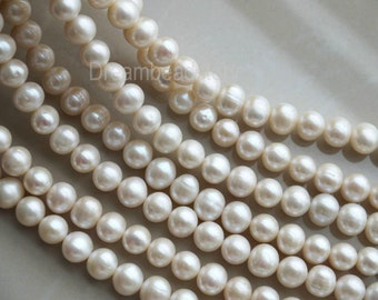 Natural Pearls, Genuine White Pearls, Real 10-11mm Pearl Beads, Nearly Round, Pearl Bridal Jewelry Beads Supplies