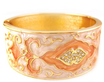Thick Engraved Gold Bangle (Hand Crafted Fashion Crystal Cuff Bracelet Statement Jewelry RSB1337)
