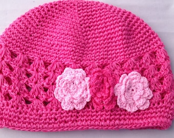 Hot Pink Crochet Beanie with pink crochet floral trim