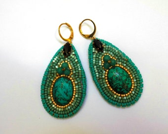 Turquoise embroidered PEAR earrings