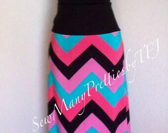 Chevron maxi skirt long comfy yoga waist watermelon dream