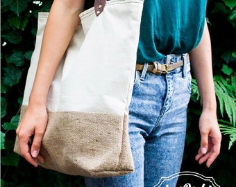 Natural Summer Tote Bag, Leather Handles, Sea bag, Every day bag, Organic tote bag, Canvas bag, White Tote