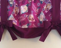 "Disney Frozen Sisters Forever Elsa Anna Girls Bedroom Window Curtain Valance Purple Strap Bows 42""W X 16""L"
