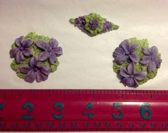 Fondant three piece Violet cake topper