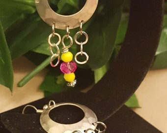 Pink, Yellow and Silver Earrings
