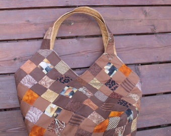 Oversized Quilted Bucket Tote Hobo Bag in Brown