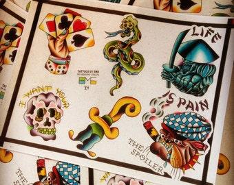 "11 x 14"" watercolor traditional tattoo flash print"