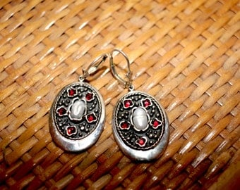 Sterling Silver Earrings with Pearls and Garnets