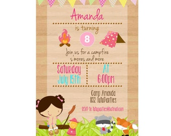Camping Birthday Invitation, S'mores Camp Out, Camp Out Invitation,Girls Camping Invite, Birthday Camp Out - Campfire - Campfire Invitation