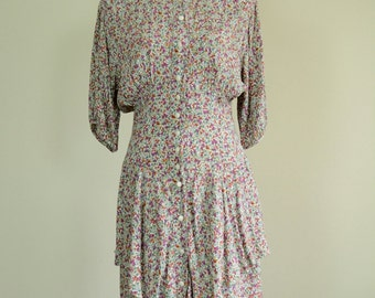 1940s Dress / 80s Does 40s Floral Dress / Elastic Waist / Ruched / Pleated Skirt