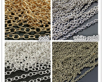 10 M length,2.5 mm,3.0 mm,4.0 mm silver o chain,bronze chain,gold chain,diy supplies,necklace stuff,handmade findings