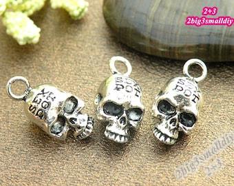 10pcs 21x10mm Antique silver skull charm pendant diy handmade materials jewelry supplies P7202