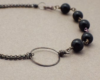 Asymmetrical Gemstone Bracelet -- Black Onyx and Oxidized Silver