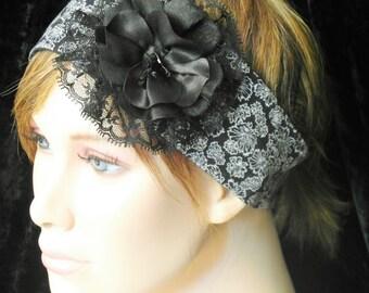 Black flowered headband - black floral headband
