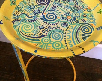 Hand Painted Metal Side table