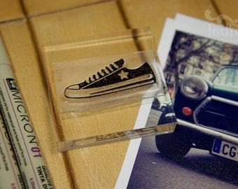 Hipster Sneakers Rubber Stamp. Sneakers Rubber Stamp - 2 x 2 inches (5 x 5 cm)