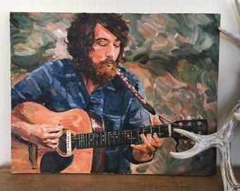 """JUST REDUCED // Robin Pecknold // Fleet Foxes // Original Oil Painting, 14"""" x 18"""""""
