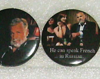 "DOS EQUIS - ""World's Most Interesting Man"" buttons - Set of 4"