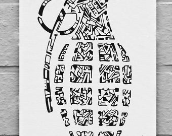 abstract black and white grenade