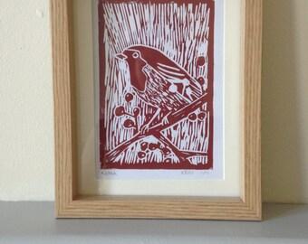 Robin Bird Handmade Linoprint A6