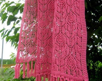 HandKnit Lace Scarf/Stole Peonies. Free Shipping!