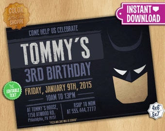 Batman Invitation - EDITABLE TEXT - Customizable Printable Birthday Party Invite Batman Superheroes Dark Knight - Instant Download