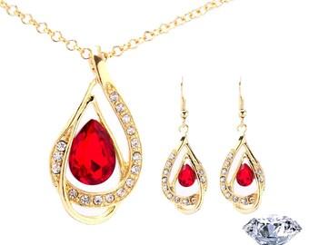 Lipstick Red Austrian Crystal Jewelry Set Necklace