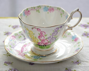 Royal Albert bone china England tea cup and saucer, colorful swirls