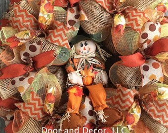 "Fall Wreath-Burlap Wreath-Scarecrow Wreath- 24"" Large Wreath-Harvest-Thanksgiving-Ribbon"