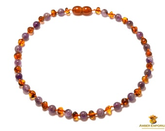 Baltic amber necklace/bracelet cognac color rounded baroque with Amethyst
