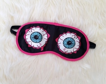Eyeball Sleep Mask - black and hot pink satin eye mask / sleeping mask - nap time, travel