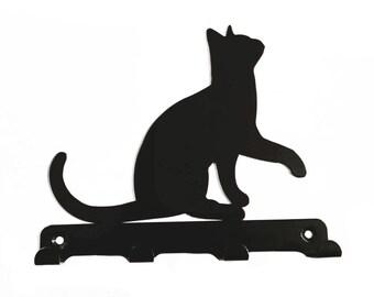 Cat Lifting Paw Silhouette Key Hook Rack - metal wall art