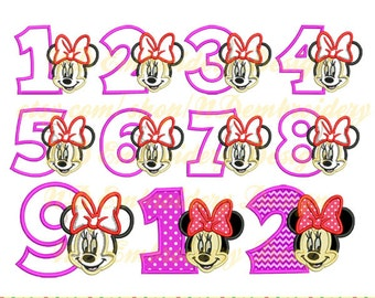 Minnie mouse face applique birthday 1-9 package,  Disney Machine Embroidery Design, ms-038-1-9