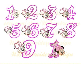 Minnie mouse birthday embroidery applique set, number 1-9, ms-090-1-9