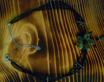 Beaded flower choker necklace