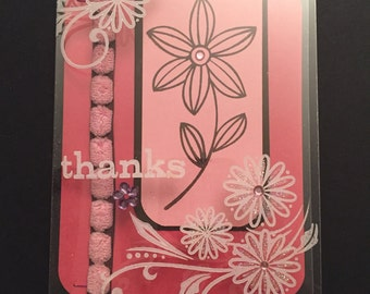 Handcrafted acetate thank you card