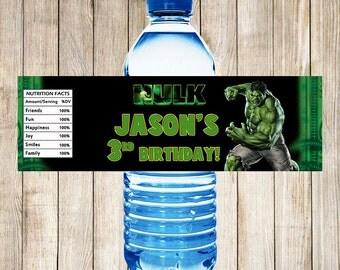 Hulk Water Bottle Labels