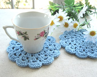 Coaster Crochet Coasters Placemat Table linens Crochet Doilies Tablecloth Crochet Doily Round Cotton Table Home Decor