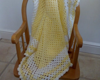 lovely lemon and white baby blanket, crocheted blanket, granny stitch blankets nursery bedding, ideal as a baby gift