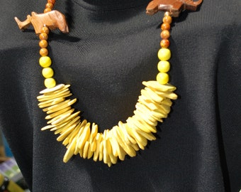 necklace - vintage chunky yellow beads with RHINOCEROS