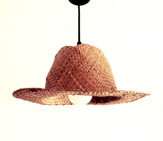 suspension chapeau de paille lampe straw hat pendant